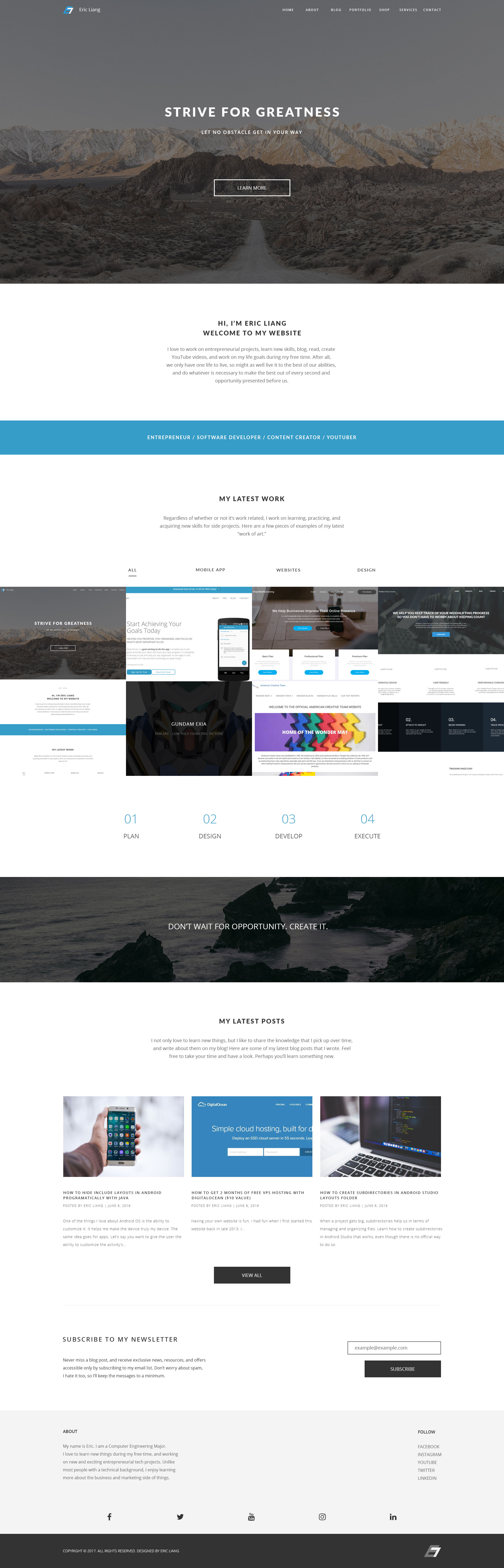 Eric Liang Personal Website 2017